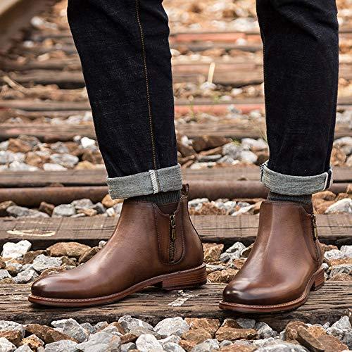 Con Chelsea Coffee Calzature Scarpa Trekking Rotonda MERRYHE Uomo Scarpe Cowboy Per Lavoro Stivaletti In Boot Pelle Da Vera Stivale Desert Da Da Punta Zip Moda Da n5xqwBA48x
