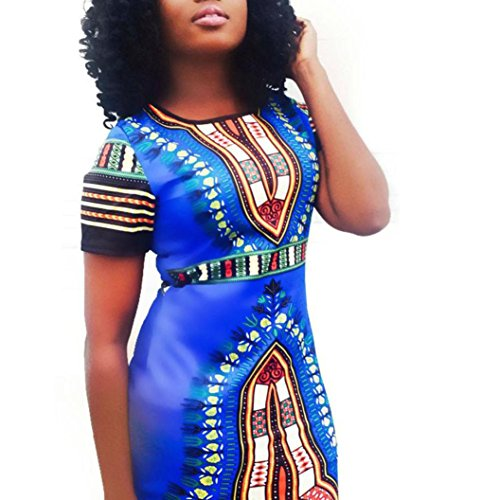FORUU Hot Sale Women Traditional African Print Dashiki Bodycon Sexy Short Sleeve Dress (S, Blue)