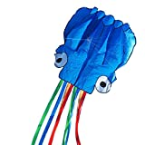Darget Octopus Kite Adults Kids - 3D Kite Blue+Colorful Tail 5.5M Handle & String Included