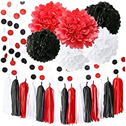 Minnie Mouse Party Supplies White Black Red Baby Ladybug Birthday Party Decorations/ First Birthday Girl Decorations Tissue Paper Pom Pom Tassel Garland Minnie Mouse Birthday Party Decorations