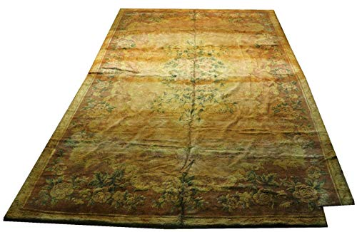 Harooni 10x16 Aubusson Old Corner Trimmed Tufted French Design Rug ()