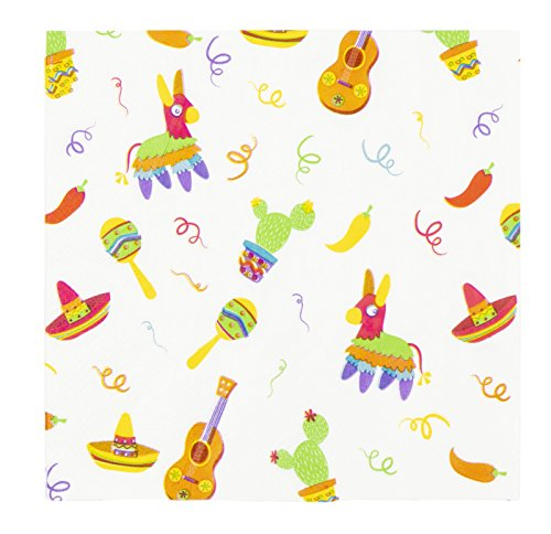 Fiesta Dinner Party - Cocktail Napkins - 150-Pack Luncheon Napkins, Disposable Paper Napkins Mexican Fiesta Party Supplies, 2-Ply, Cinco de Mayo, Unfolded 13 x 13 inches, Folded 6.5 x 6.5 inches