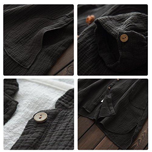 Longues Shirt Cherry Large Cardigan Happy Casual Chemise Boutons Lin Et Manches Coton Poches avec en 18wCdxO