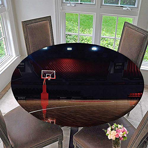 Mikihome Modern Table Cloth Empty Basketball Court Sport Arena with Spot Lights and Wood Floor 63