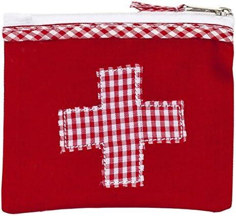 Mini-Farmacia Bolsa de medicinas roja algodón con aplicación Cruz roja y Blanca Vichy a Cuadros 13x11cm Ringelsuse: Amazon.es: Equipaje