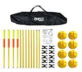 Quest Sport Agility Poles with Corner Flags   Turf or Grass   Hurdles   Gate   Multi Function   Free Kick Barrier