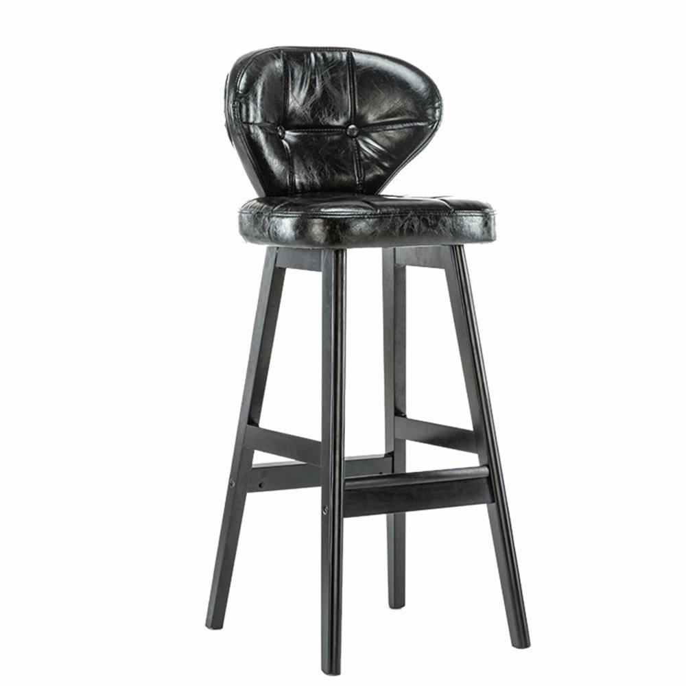 カウンターチェアソリッドウッドシートハイスツールバーキッチンブレックファーストダイニングチェア背もたれ椅子PUレザークッションブラック (色 : B) B07DGPM7B3B
