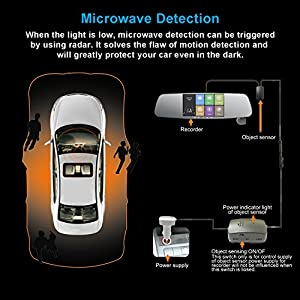 HD Mirror Dash Cam,CAMBOSS Exclusive Microwave Sensor Technology with 360°Automatic Rotatable Car Camera -1080P 5.0 Inch IPS Mirror Camera,Parking Monitor, Motion Detection, G-Sensor, Night Vision