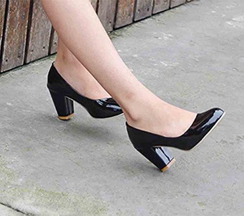 Easemax Womens Gracieuse Bout Rond Coupe Basse Slip-on Haut Talon Pompes À Talons Chaussures Noir