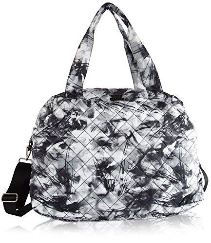 Steve Madden Quilted Nylon Weekender Duffel Bag - Black Floral