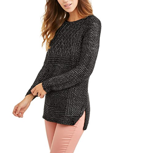 Faded Glory Women's Plated Tunic Sweater (M, Black Soot)
