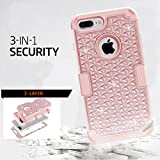 LONTECT 48case-ch IPhone 7 Plus Case, Lontect Hybrid Heavy Duty Shockproof Diamond Studded Bling Rhinestone Case with Dual Layer [Hard Pc Plus Soft Silicone] Impact Protection - Rose Gold