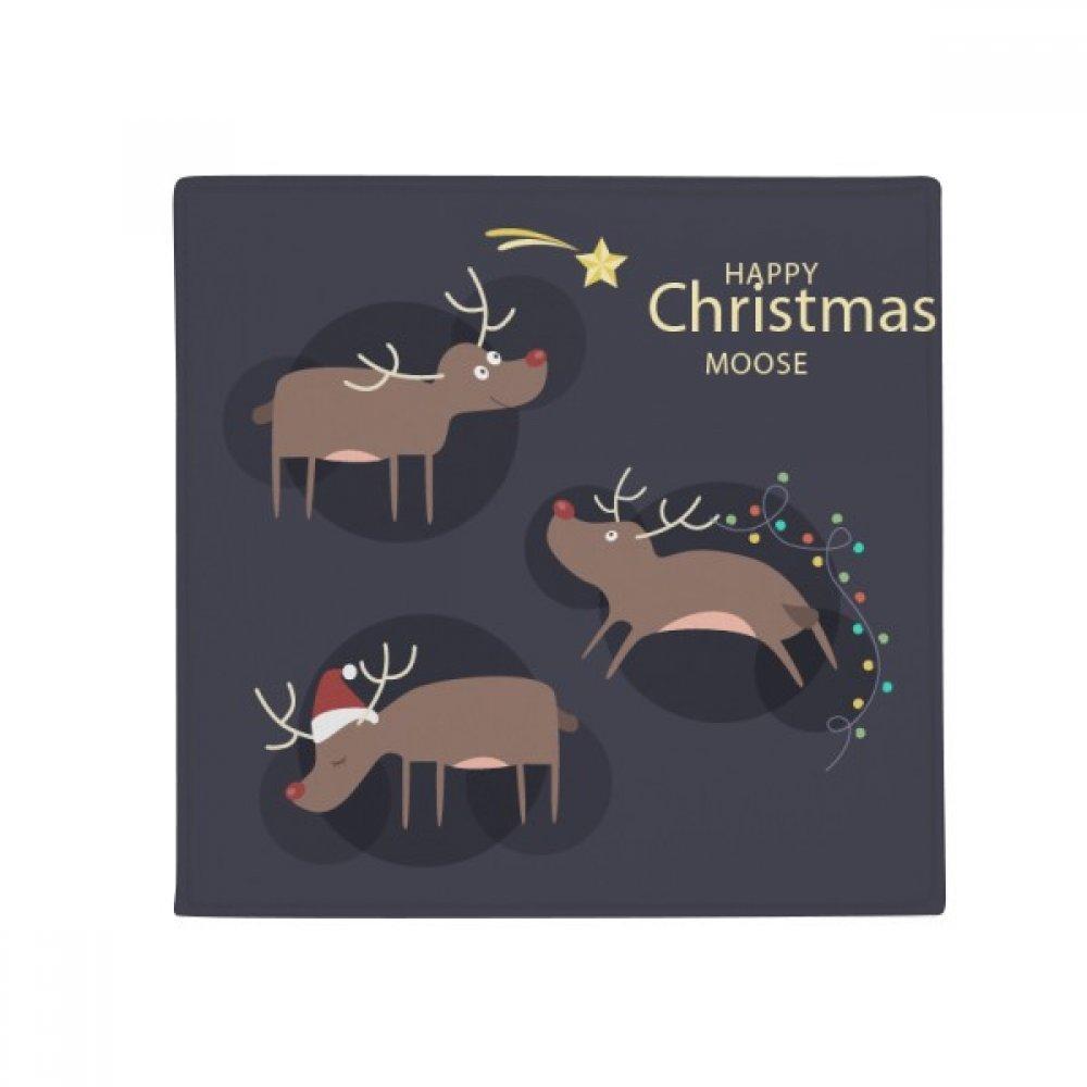 DIYthinker Christmas Reindeer Moose Pattern Anti-Slip Floor Pet Mat Square Home Kitchen Door 80Cm Gift