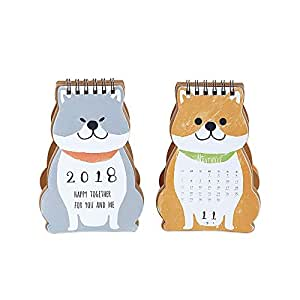 2018 Cartoon Dog Desktop Calendar Mini Table Planner - Pack of 2 - Random Color