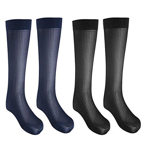 Agoky Mens Summer Thin Sheer Silk Business Socks Over the Calf Trouser Crew Sock (2 Pairs)