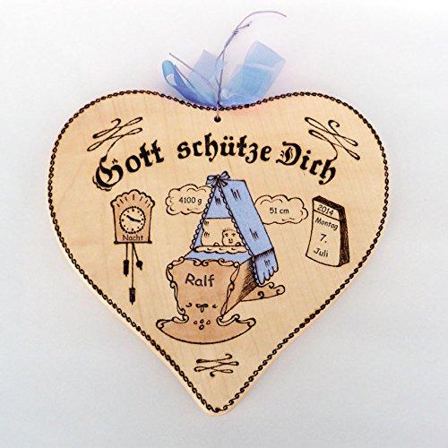 Geschenkissimo Geburtsgeschenk: Holz-Herz mit Geburtsdaten - Farbe: blau, Motiv Wiege