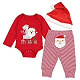DONWEN Christmas Outfits Baby Boys My 1st Christmas Rompers Bodysuit Santa Claus Pants with Christmas Hat 9-12 Months Red