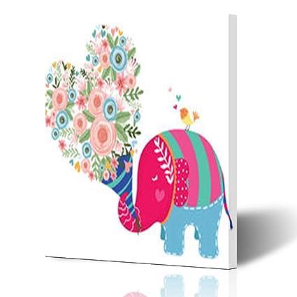 Amazon.com: Canvas Print Wall Art Cute Elephant Hand Drawn Wildlife ...