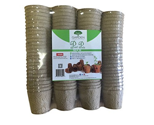 - 3 Inch Peat Pots Pack of 100 by Garden Monks -for Plant Starters, Seedlings,Saplings, Flowers,Vegetables-Eco Friendly & Biodegradable -Prevent Transplant Shock -Garden,Backyard,Kitchen Seed Planting