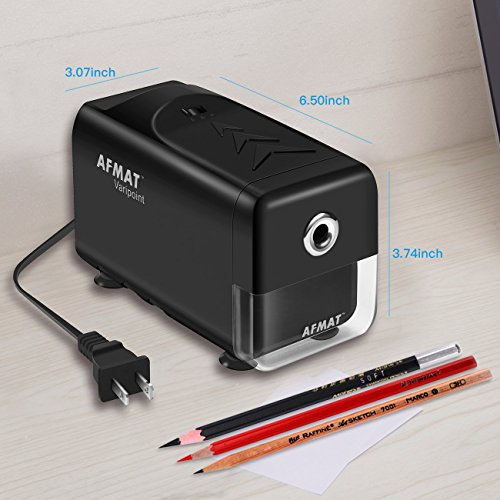 Heavy Duty Electric Pencil Sharpener, Durable Indrustial Pencil Sharpener for Classroom, Helical Blade, Auto Stop, Fast Sharpen in 3s, Suitable for NO. 2 and Colored Pencils, Home, School, Office Use by AFMAT (Image #6)