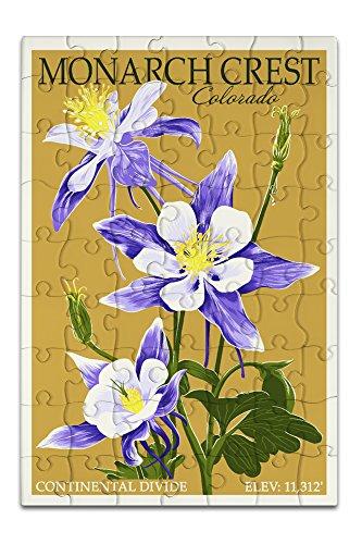 Colorado Columbines Design - Monarch Crest, Colorado - Columbine - Letterpress (8x12 Premium Acrylic Puzzle, 63 Pieces)