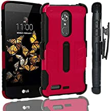 ZTE MAX XL Case, ZTE Bolton Case (4G LTE), ZTE Blade Max 3 Heavy Duty Shockproof Full-body Protective Hybrid Case Cover with Swivel Belt Clip and Kickstand (Red)