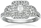 14k White Gold Diamond Emerald Shape Halo Frame Engagement Ring (1cttw, H-I Color, SI2-I1 Clarity), Size 7