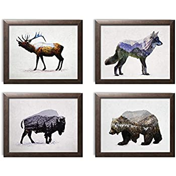 Rustic Double Exposure Elk, Bison, Wolf and Bear Landscape Set; Cabin Lodge Decor; Four 14x11in Brown Framed Prints; Ready to Hang!