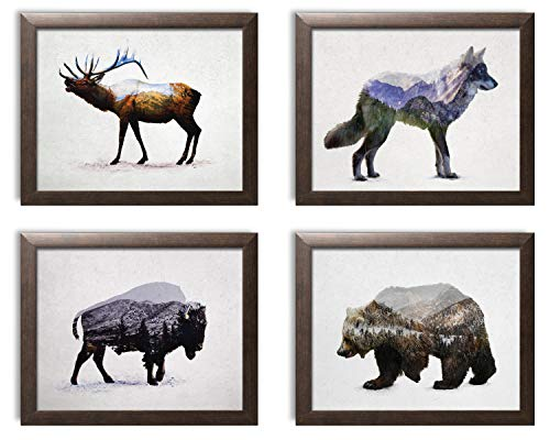 Four Framed Print - Rustic Double Exposure Elk, Bison, Wolf and Bear Landscape Set; Cabin Lodge Decor; Four 14x11in Brown Framed Prints; Ready to Hang!