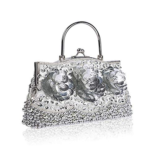 Cluth Women Ball Handmade Silver Vintage Ladies Bag amp; Beads Handbag Party Exquisite Wedding Evening for Bridal Bag Sequin Bags Glitter Beaded Fadirew RBqC71