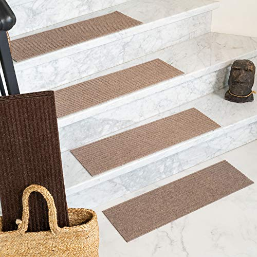 NaturalAreaRugs Halton, Polyester Beige, Handmade Stair Treads Carpet Set of 13 (9