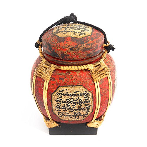 Rice Basket With Thai Writing Giving Blessings Made Of Bamboo by Siam Sawadee