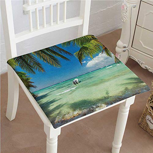 (Mikihome Squared Seat Cushion Sea Surrounded by Palm Tree Leaves Scenic Nature Summertime Fern Green Turquoise Blue Garden Patio Home Kitchen Office Sofa Seat Pad 26