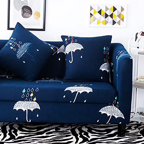 Elastic Anti Wrinkle Sofa Slipcover , Couch Covers For 3 Seater Sofa Soft Lightweight Slip Resistant Sofa Furniture Protector Cover Fit Many Popular Sofas Hidden Blue Umbrella Pattern by (Fit 3 Hidden Elastic)