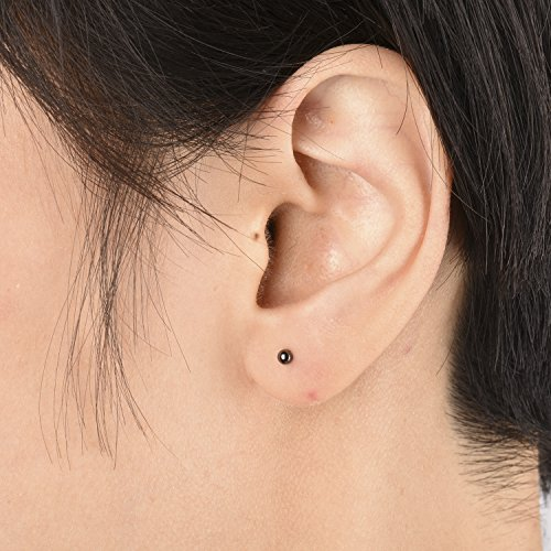 Sterling Silver Ball Stud Earrings Set (Black, 4 Pairs-2mm 3mm 4mm 5mm) by Gintan (Image #1)