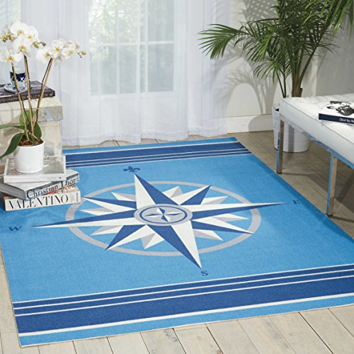 Waverly SND45 Sun & Shade Sailing Coastal/Nautical Blue Indoor/Outdoor Area Rug by Nourison 5'3