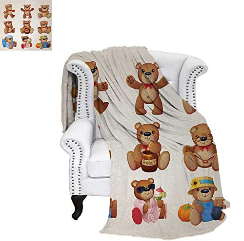Oversized Travel Throw Cover Blanket Cute Happy Toy Teddy Bears with Funny Different Faces Nostalgic Kids Design Super Soft Lightweight Blanket 50
