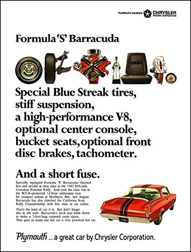 1966 PLYMOUTH BARRACUDA FORMULA *S* FASTBACK *.And a Short Fuse. * VINTAGE COLOR AD - USA - GREAT ORIGINAL !! (CD466)