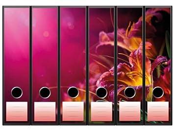 Pegatinas para archivadores con diseño de lirios, 65 x 300 mm, aptas para archivadores