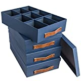 Tri-coastal Design (4 Pack) Canvas 17x12 Storage Box Set Clothes & Keepsake Box Compartment Boxes- 9 Divided Slots