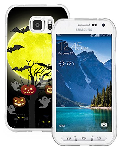S7 Active Case & MUQR Replacement Bumper Rubber Gel Silicone Slim Drop Proof Protection Compatible Cover for Samsung Galaxy S7 Active Halloween Pumpkin Cat Bat -