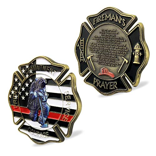 St. Florian Patron Saint of Firefighter Prayer Coin Thin Red Line US Flag Challenge Coin