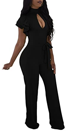 6750dc3b3f9f Amazon.com  Women Sexy Jumpsuits Casual Turtleneck Short Sleeve Floral  Bandage Wide Leg Long Pants Rompers Party Club  Clothing
