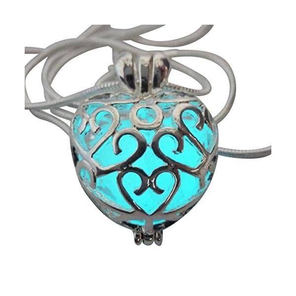 UMBRELLALABORATORY Wishing Heart Fairy Magical Fairy Glow in The Dark Necklace-Aqua-SIL 5