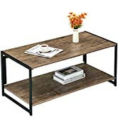 Coffee Tables for Living Room Folding Industrial 2-Tier Sofa Tables No-Assembly Table with Storag...