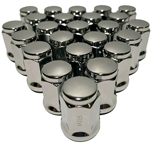 (Coyote 24 Chrome Bulge Acorn Closed End 14x1.5 Cone Seat Lug Nuts Compatible with GMC Chevy 1.38