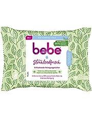 bebe 29686 Stralend verfrissende reinigingsdoekjes, intensief reinigende make-updoekjes van plantaardige vezels uit hernieuwbare bronnen voor de normale huid, Groen, 25 stuks