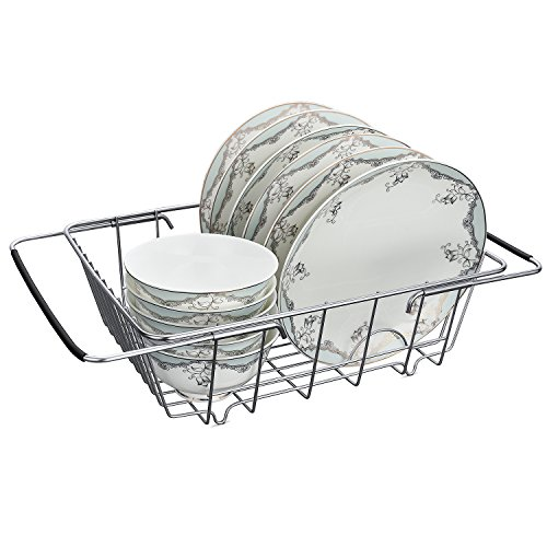 Stainless Steel Over-The-Sink Kitchen Dish Drainer Rack with