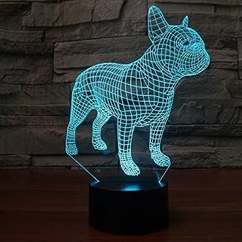 3D Französische Bulldogge Hund Optische Illusions Lampen, Tolle 7  Farbwechsel Acryl Berühren Tabelle Schreibtisch