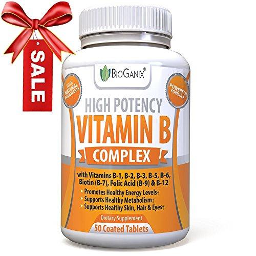 Vitamin B Complex 100 Supplement With Vitamin B12, B1, B2, B3, B4, B5, B6, B7 Biotin & B9 Folic Acid 400mcg - High Potency Capsules To Boost Energy, Weight Loss, Metabolism, Skin, Hair & Eyes (Time Release Calcium + D compare prices)